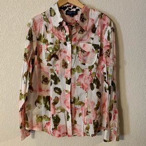 Jones New York Floral Button Down Blouse